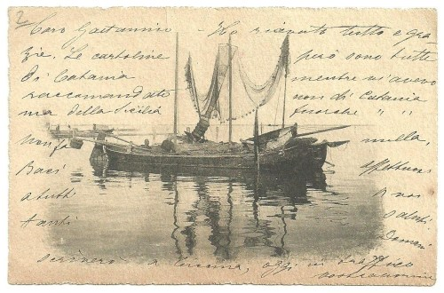 17 vintage postcard italy fishing boat catania